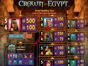 pagamenti Crown of Egypt